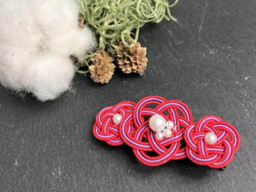 水引とパールで作る着物にもピッタリな梅結びヘアアクセサリーの作り方・結び方